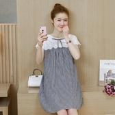 初心 韓國短袖洋裝 【D8598】 格紋 拼接 布蕾絲 短袖 連身裙 洋裝