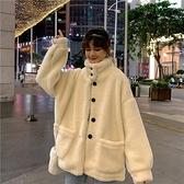 羊羔绒外套 羊羔毛外套女加絨加厚秋冬2021新款百搭韓版寬松保暖立領衛衣女 快速發貨
