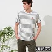【JEEP】網路限定 舒適狐狸造型條紋短袖TEE-男女適穿-灰