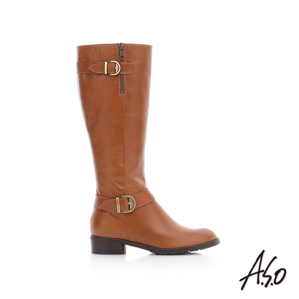 A.S.O 保暖靴  百搭真皮釦飾拉鍊長靴  茶