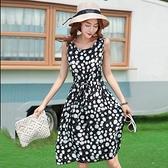 綿綢連身裙女2020夏季新款修身顯瘦圓領大擺無袖度假裙沙灘裙子女