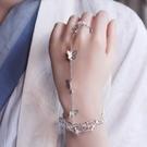 手鐲 古風鈴鐺戒指手鐲 漢服手飾開口鐲子 中國風宮鈴禮物宮廷復古飾品 晶彩
