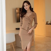 OL洋裝 秋裝韓版氣質性感V領修身長袖包臀中長款開叉連身裙女  店慶降價
