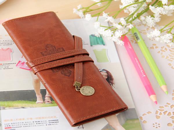 韓系 復古三折捲繩式高級皮質筆袋 刷具化妝袋 收納包 鉛筆盒【SV6292】BO雜貨