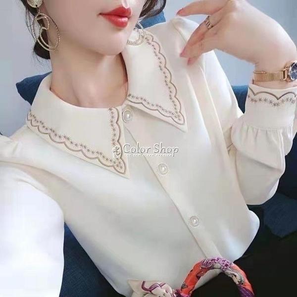 雪紡襯衫女長袖2021網紅同款春裝新款刺繡領設計感小眾洋氣娃娃領 快速出貨