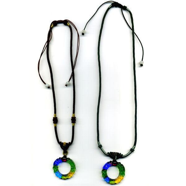 鹿港窯~居家開運水晶琉璃項鍊~雙龍搶珠◆附精美包裝◆免運費送到家