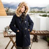 《EA2081-》牛角釦內裡格紋高含棉鋪棉連帽外套 OB嚴選