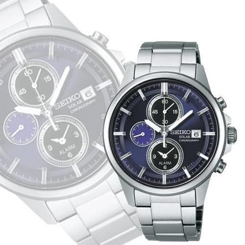 SEIKO 精工 SPIRIT 太陽能鬧鈴兩地時間手錶-深紫 V172-0AA0N
