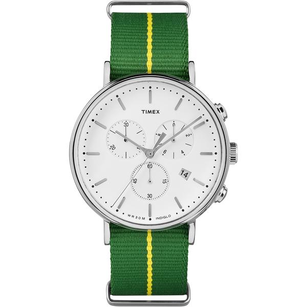 【TIMEX】天美時 週末Fairfield系列 三眼計時手錶-綠帆布帶/41mm(TXTW2R26900)
