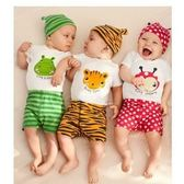 短袖套裝  (包屁衣+褲子)可愛動物圖案 純棉 連身衣/爬服(不含帽子) S56004