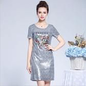中大尺碼洋裝 小禮服亮片縫珠圓領短袖氣質優雅連衣裙  L-5XL #bl2902811 ❤卡樂❤