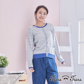 【Tiara Tiara】經典細條紋針織長袖上衣(灰)