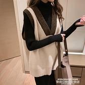 針織馬甲 秋冬復古無袖套頭毛衣馬甲女針織背心寬鬆v領韓版外穿學院風上衣 萊俐亞