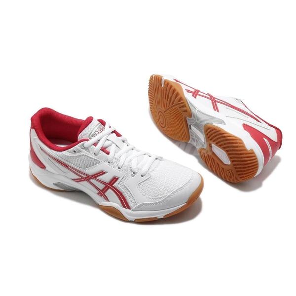 Asics 排球鞋 Gel-Rocket 10 女 白 紅 膠底 羽球 室內運動鞋【ACS】 1072A056100