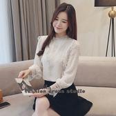 依二衣 秋季新款韓版立領蕾絲雪紡衫修身韓風長袖襯衫