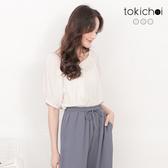 東京著衣-tokichoi-百搭休閒V領多色直條紋短袖上衣-S.M.L.XL.XXL(191216)