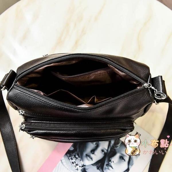 包包新款軟皮小方包女斜挎包中年單肩包媽媽包水洗皮百搭女包 【八折搶購】
