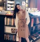 VK精品服飾 韓系雙排扣西裝領綁帶氣質收腰長袖洋裝