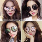 現貨-韓國墨鏡女潮明星同款眼鏡新款圓形彩色粉紅色太陽鏡女圓臉韓國復古眼鏡 114