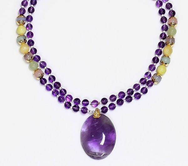 [協貿國際]天然紫水晶長項鍊單條價
