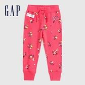 Gap女幼童 Logo童趣印花鬆緊休閒褲 619748-玫瑰紅