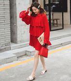 BabyShare時尚孕婦裝【JAN981】現貨 東大門 加大尺碼 大紅-雪紡 孕婦裝-雪紡百褶襯衫裙 哺乳