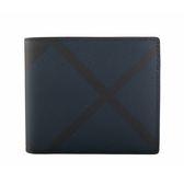 【BURBERRY】London格紋皮革對開短夾(海軍藍) 8006062 A1960
