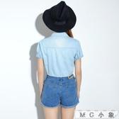 MG 牛仔外套-披肩外搭短款短袖薄款牛仔外套