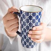創意杯子帶勺手繪浮雕陶瓷馬克杯/E家人