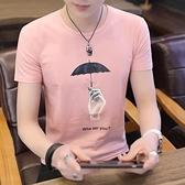 T恤-夏季新款男式短袖t恤圓領男子粉色印花體恤男半截袖t桖潮男生小衫
