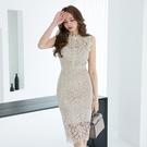 無袖蕾絲洋裝S-XL5910#韓版OL輕奢氣質圓領鏤空蕾絲顯瘦無袖包臀連身裙NA71紅粉佳人