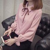 襯衫女韓版蝴蝶結寬鬆上衣長袖打底白襯衣