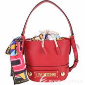 LOVE MOSCHINO 繽紛印花絲巾束口水桶包(紅色) 1910137-54