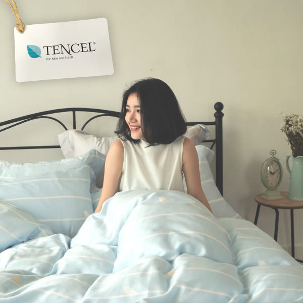 天絲 床包被套組(薄) 加大【一抹清新】涼感 親膚 100%tencel 萊賽爾纖維 翔仔居家