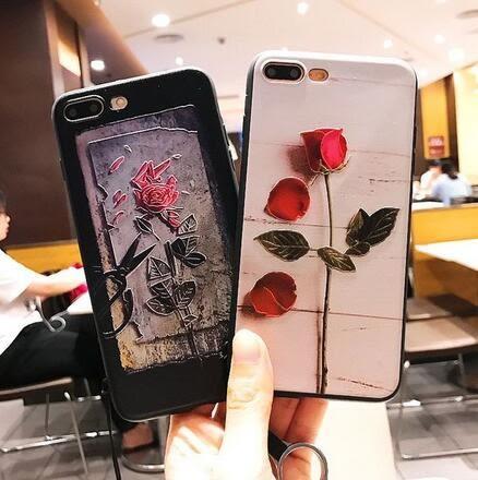 【SZ13】iphone 7 plus手機殼 復古新款白玫瑰+掛繩 浮雕 軟殼iphone 6s plus手機殼