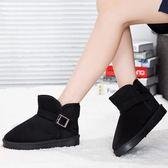 雪地靴女冬韓版加絨加厚保暖搭扣情侶短筒面包鞋 萬客居