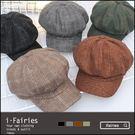 現貨+快速★復古格紋八角帽 貝雷帽 造型帽★ifairies【64972】