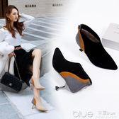 秋季貓跟高跟鞋短靴裸細跟瘦瘦靴子絨面英倫風加絨馬丁靴 深藏blue