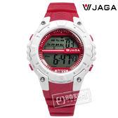JAGA 捷卡 / M1113-G / 電子液晶 兩地時間 防水100米 電子運動 橡膠手錶 白x桃紅 37mm