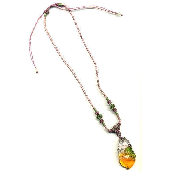 鹿港窯~居家開運水晶琉璃項鍊~長壽如意 附精美包裝  ◆免運費送到家◆