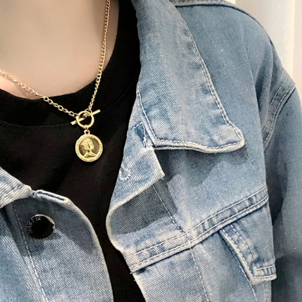 現貨不用等 韓國冷淡風時尚個性簡約金屬感女王錢幣項鍊 鎖骨鍊 S2563 批發價 Danica 韓系飾品