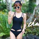 泳衣泳裝比基尼 JE 黑色連身綁帶簍空綁帶 泳衣泳裝比基尼【267j】
