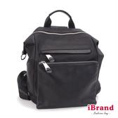【iBrand】韓系時尚簡約真皮口袋3way尼龍後背包-黑 HJD-898-11-BK