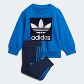 ADIDAS CREW SWEATSHIRT SET 童裝 小童 上衣+長褲 套裝 慢跑 休閒 藍【運動世界】ED7684