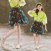 女童短裙 半身裙韓版洋氣中大童網紗裙2021春夏季新款兒童蓬蓬裙短裙潮【快速出貨】