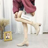 襪靴女 高跟粗跟尖頭短靴