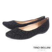 Tino Bellini 巴西進口特殊蛇紋真皮舒適平底娃娃鞋_黑 IN1038C 2017SS 歐洲進口款