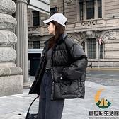 白鴨絨短款黑色羽絨服女時尚面包服輕薄外套【創世紀生活館】
