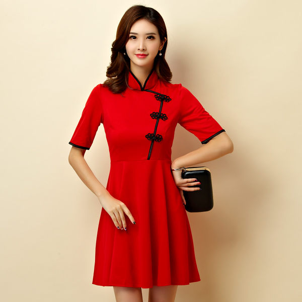 改良式立領旗袍大裙襬表演洋裝小禮服~美之札