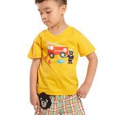 【愛的世界】純棉V領黑熊與車印圖T恤/4歲/8歲-台灣製- ★春夏上著